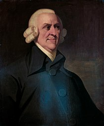 Adam Smith, author of The Wealth of Nations (1776) and The Theory of Moral Sentiments (1759). Adam Smith The Muir portrait.jpg
