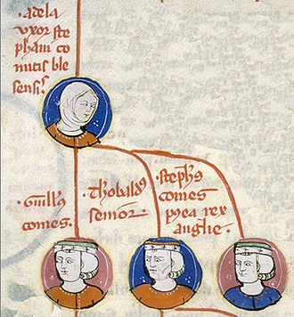 Stephen, King of England - A contemporary depiction of Stephen's family tree, with his mother Adela at the top, and, left to right, William, Theobald and Stephen