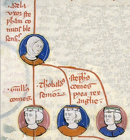 A contemporary depiction of Stephen's family tree, with his mother Adela at the top, and, left to right, William, Theobald and Stephen Adela syni.jpg