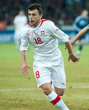 Admir Mehmedi - Mehmedi playing for Switzerland in 2012.