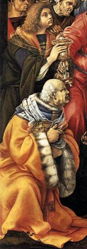Pierfrancesco the Elder - Adoration of the Magi (Filippino Lippi). Detail with Pierfrancesco de' Medici the Elder and his son Giovanni il Popolano