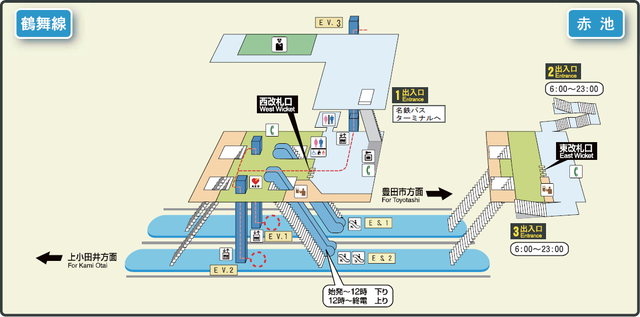 Akaike station map Nagoya subway's Tsurumai line 2014.png
