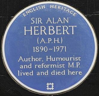A. P. Herbert - Blue plaque, 12 Hammersmith Terrace