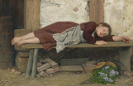 Albert Anker - Schlafendes Mädchen auf einer Holzbank