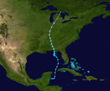A track map of Tropical Storm Alberto