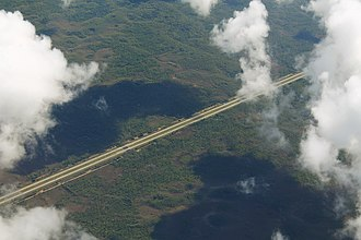 Interstate 75 in Florida - Aerial view of I-75 through Alligator Alley