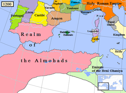 The Islamic Almohad dynasty and surrounding states, including the Christian Kingdoms of Portugal, Leon, Castile, Navarre, and the Crown of Aragon, c. 1200. Almohad1200.png