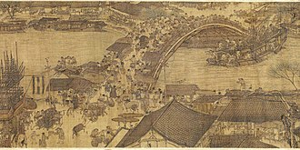 China - A detail from Along the River During the Qingming Festival, a 12th-century painting showing everyday life in the Song dynasty's capital, Bianjing (present-day Kaifeng)