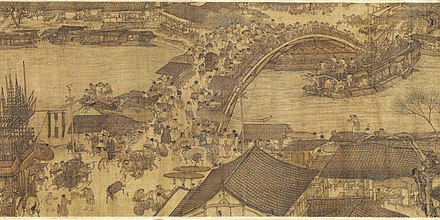 A detail from Along the River During the Qingming Festival, a 12th-century painting showing everyday life in the Song dynasty's capital, Bianjing (present-day Kaifeng) Along the River During the Qingming Festival (detail of original).jpg