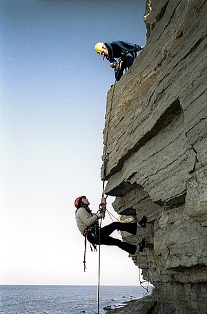 Training - Mountaineering training in Estonia. It involves both instruction and physical exercise in the outdoor environment to develop skills that are necessary for survival in rock climbing.