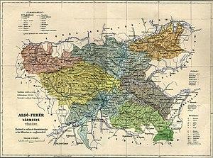 Alsó-Fehér County - Image: Alsó Fehér county administrative map
