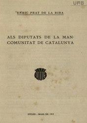 Als diputats de la Mancomunitat de Catalunya