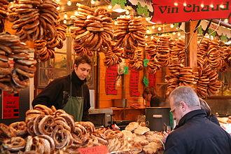 Pretzel - Christmas market in Strasbourg; mulled wine and bretzels sold