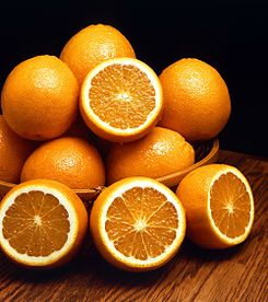 The orange, a fruit from which the modern name of the orange colour comes.
