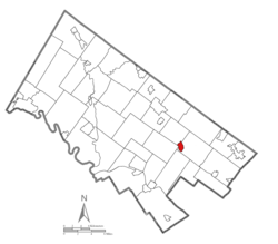 Location of Ambler in Montgomery County, Pennsylvania.