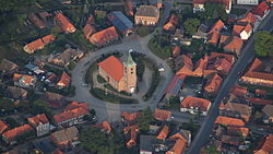 Aerial view of the village center