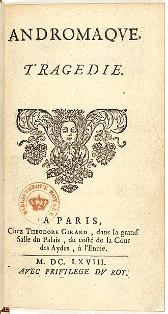 Andromaque - Title page from 1668 edition of Andromaque