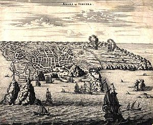 Terceira Island - 19th century print of the Angra op Tercera, showing the city of Angra and portions of the island (Author unknown)