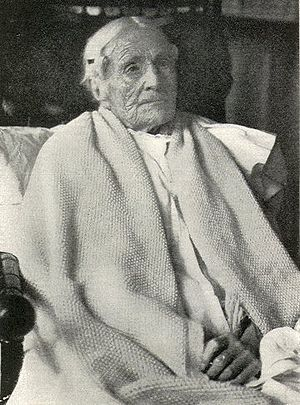 Senescence - Supercentenarian Ann Pouder (8 April 1807 – 10 July 1917) photographed on her 110th birthday. A heavily lined face is common in human senescence.