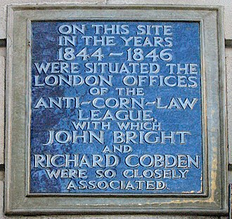 Fleet Street - A blue plaque marking the location of the Anti-Corn Law League headquarters on No. 67 Fleet Street