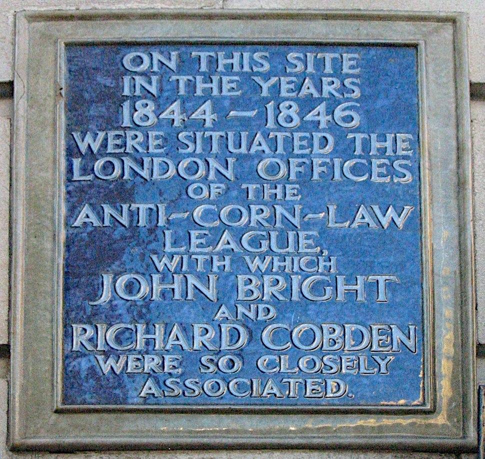 Anti-Corn-Law League plaque London