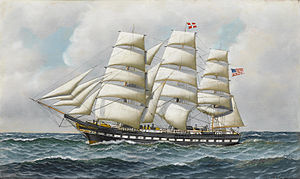 Antonio Jacobsen - The American full-rigger 'Jeremiah Thompson' at sea.jpg