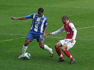 Antonio Valencia - Valencia taking on Arsenal's Gaël Clichy for Wigan Athletic in 2008