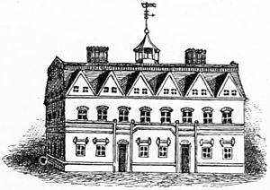 Gambrel - The first Harvard Hall, Harvard University, credited to be the oldest known example of a gambrel roof in North America, built c. 1677, burned 1766.