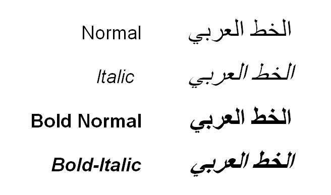 Arabic text Italic-Normal