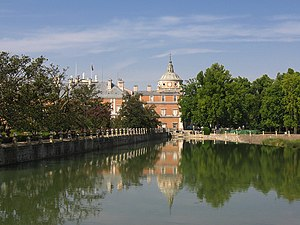 Royal Palace of Aranjuez (Spain) with river Tagus seen from the Boats' Bridge