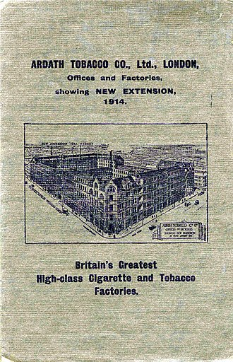 State Express 555 - A poster shows Ardarth Tobacco Offices and Factories in 1914