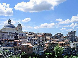 Ariccia - View of the historical centre from the Ariccia bridge.
