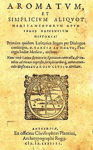 Garcia de Orta - Cover of Clusius' 1574 Latin translation.