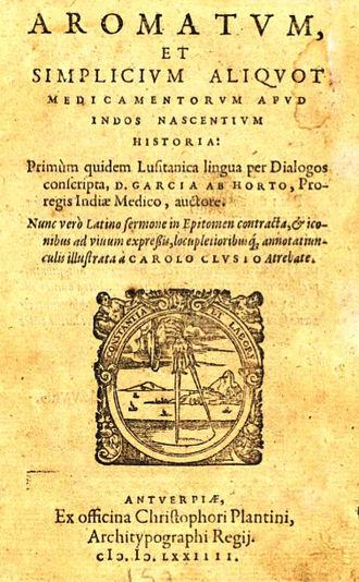 Garcia de Orta - Cover of Clusius' 1574 Latin translation.