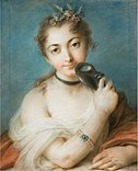 Portrait of a Woman with Mask by Rosalba Carriera