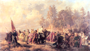 Bar Confederation - The Bar Confederates pray before the Battle of Lanckorona. Painting by Artur Grottger.
