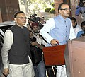 Arun Jaitley along with the Minister of State for Finance, Shri Jayant Sinha arrives at Parliament House to present the General Budget 2016-17, in New Delhi.jpg