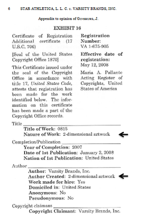"""Star Athletica, L. L. C. v. Varsity Brands, Inc. - One page of the 11-page appendix to Justice Ginsburg's opinion, which highlighted that the designs were registered with the U.S. Copyright Office as """"2-dimensional artwork"""""""