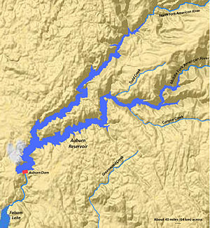 Auburn Dam - Map of the extent of the Auburn Reservoir