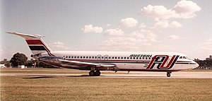 Austral Líneas Aéreas - An Austral BAC One-Eleven taxiing at Aeroparque Jorge Newbery in 1993. This livery was used while the carrier was owned by Cielos del Sur S.A., and persisted for some years after the airline was acquired by Iberia.