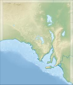 """Mapa konturowa Australii Południowej, na dole po prawej znajduje się punkt z opisem """"Adelaide"""""""
