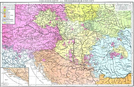 Late 19th century ethnic map of Central Europe depicting predominantly Romanian-inhabited territories in blue. Hungarians are marked in yellow and Germans in pink. Austria-Hungary (ethnic).jpg