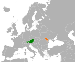 Map indicating locations of Austria and Moldova