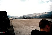 French C-130 Hercules on the tarmac of Mostar in 1996, bringing a French IFOR unit back home.