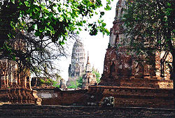 Ruins of the old city, Ayutthaya, after the Burmese invasion.