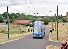 1955 Willowbrook -bodied Sunbeam F4A trolleybus at Black Country Museum front nearside running up incline.