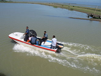 Haor - A police patrol speed boat in the haor region