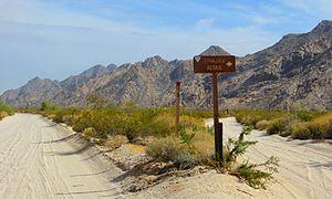 El Camino del Diablo - El Camino del Diablo in the Barry M. Goldwater Air Force Range, near Wellton, Arizona. At spur road to Tinajas Altas.