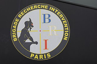 Research and Intervention Brigade - Paris BRI-PP logo on an armored truck
