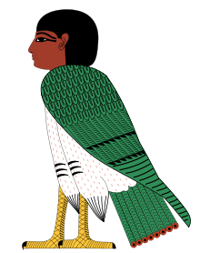 An anthropomorphic bird with a human head in ancient Egyptian style, colored in green, yellow, white, red, brown, and black